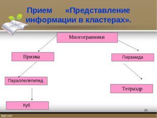 Прием «Представление информации в кластерах». *