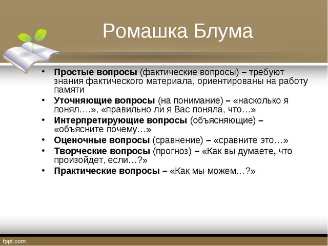 Ромашка Блума Простые вопросы (фактические вопросы) – требуют знания фактичес...