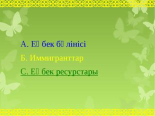 А. Еңбек бөлінісі Б. Иммигранттар С. Еңбек ресурстары