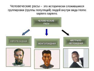 Человеческие расы – это исторически сложившиеся группировки (группы популяций