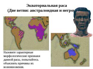 Экваториальная раса (Две ветви: австралоидная и негроидная) Назовите характер