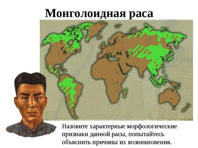 Монголоидная раса Назовите характерные морфологические признаки данной расы,...