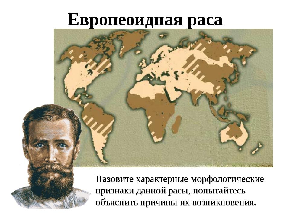 Европеоидная раса Назовите характерные морфологические признаки данной расы,...