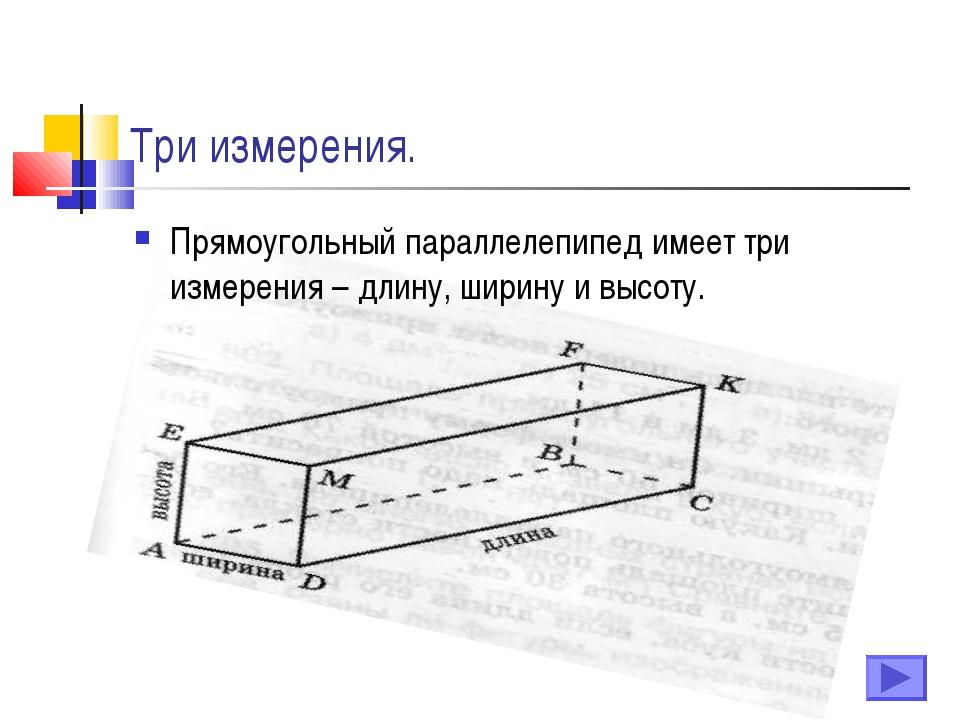 Три измерения. Прямоугольный параллелепипед имеет три измерения – длину, шири...