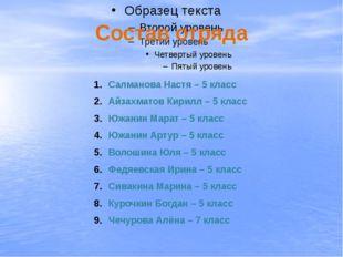 Состав отряда Салманова Настя – 5 класс Айзахматов Кирилл – 5 класс Южанин Ма