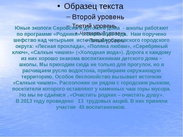 Юные экологи Серовского детского дома - школы работают по программе «Родники»...
