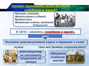 В 1874 г. началось «хождение в народ». цель Вызвать революционный взрыв в дер