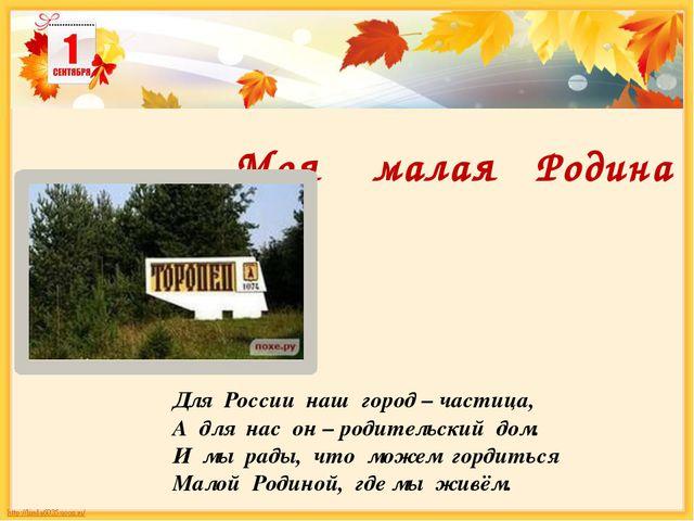 Моя малая Родина Для России наш город – частица, А для нас он – родительский...