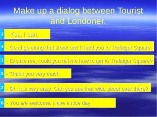 Make up a dialog between Tourist and Londoner. - Yes, I can. - Excuse me, cou