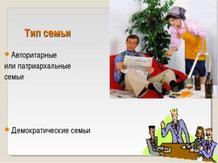 Тип семьи Авторитарные или патриархальные семьи Демократические семьи