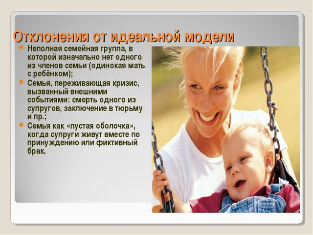 Отклонения от идеальной модели Неполная семейная группа, в которой изначально...
