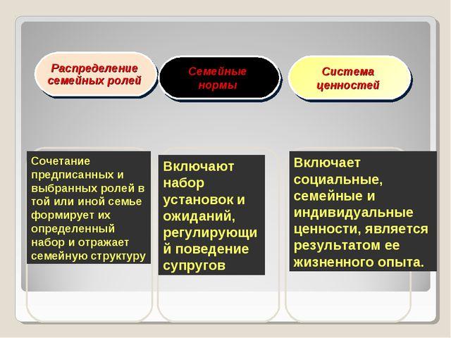 Распределение семейных ролей Семейные нормы Система ценностей Сочетание предп...
