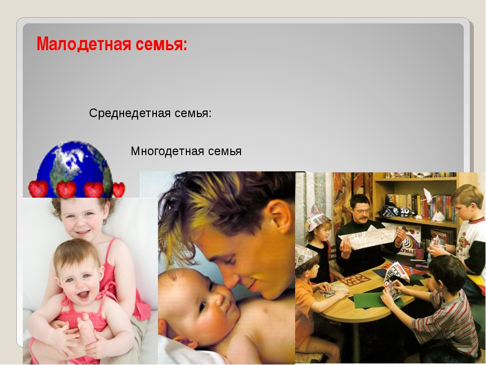 Классификация семей Малодетная семья: Среднедетная семья: Многодетная семья