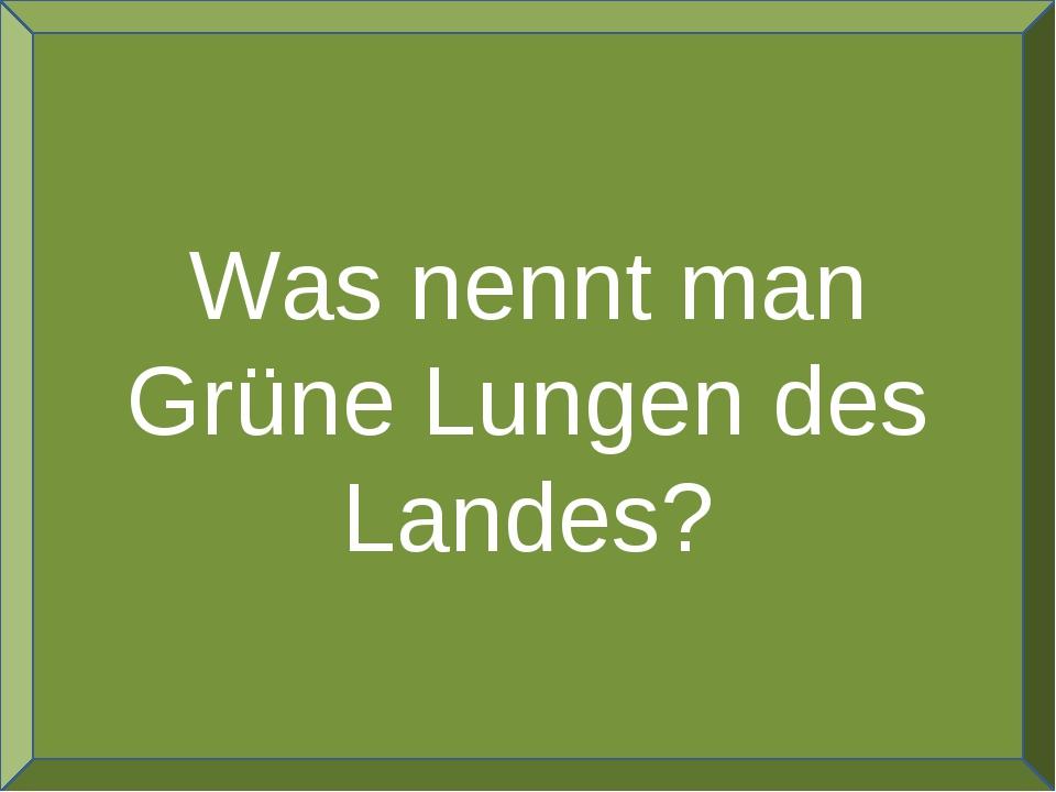 Was nennt man Grüne Lungen des Landes?