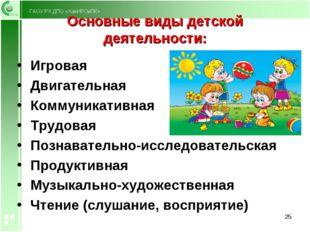 Основные виды детской деятельности: Игровая Двигательная Коммуникативная Труд