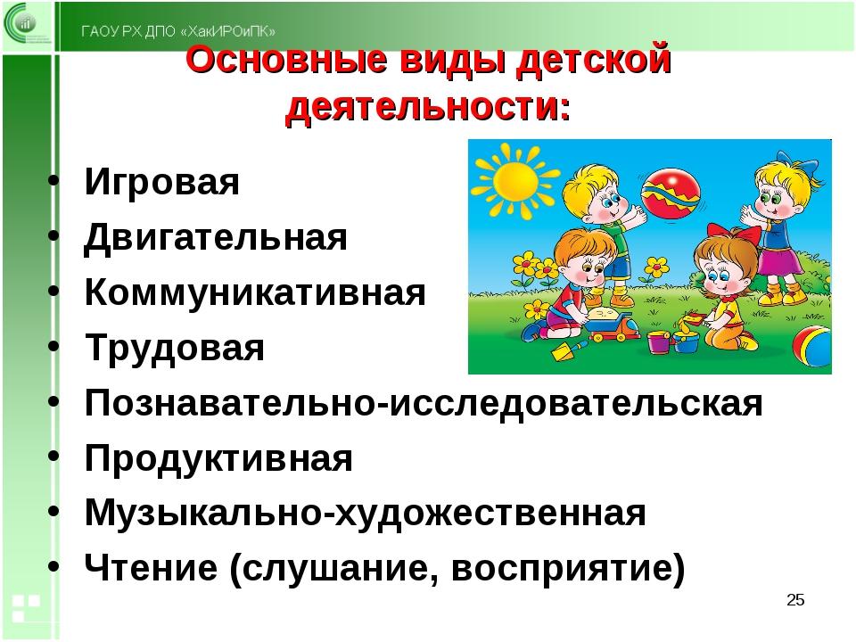 Основные виды детской деятельности: Игровая Двигательная Коммуникативная Труд...