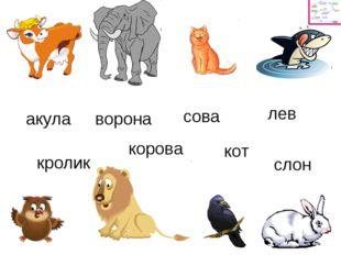 акула корова ворона сова лев кролик кот слон
