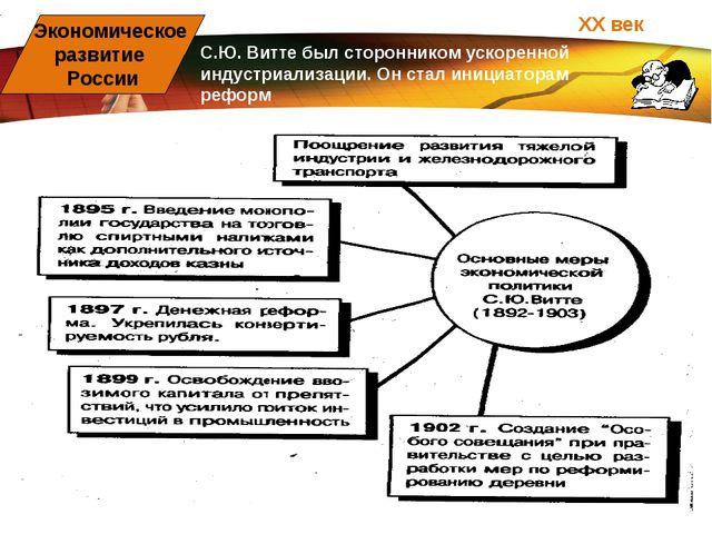 ХХ век Экономическое развитие России С.Ю. Витте был сторонником ускоренной ин...