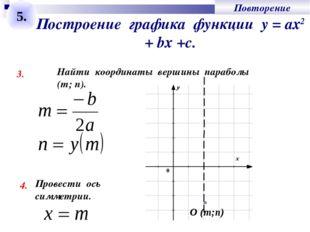 Построение графика функции у = ах2 + bх +с. 3. Найти координаты вершины параб