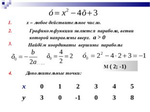 х – любое действительное число. 1. 2. Графиком функции является парабола, вет