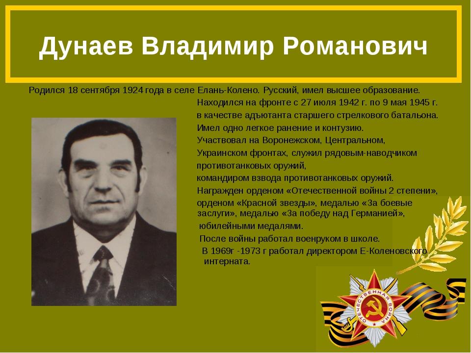 Родился 18 сентября 1924 года в селе Елань-Колено. Русский, имел высшее образ...