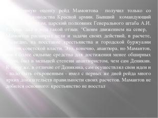 Объективную оценку рейд Мамонтова получил только со стороны руководства Красн