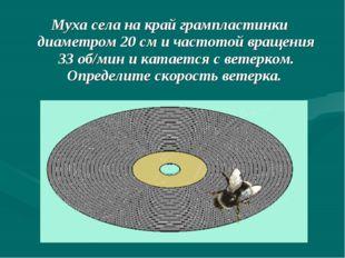 Муха села на край грампластинки диаметром 20 см и частотой вращения 33 об/мин