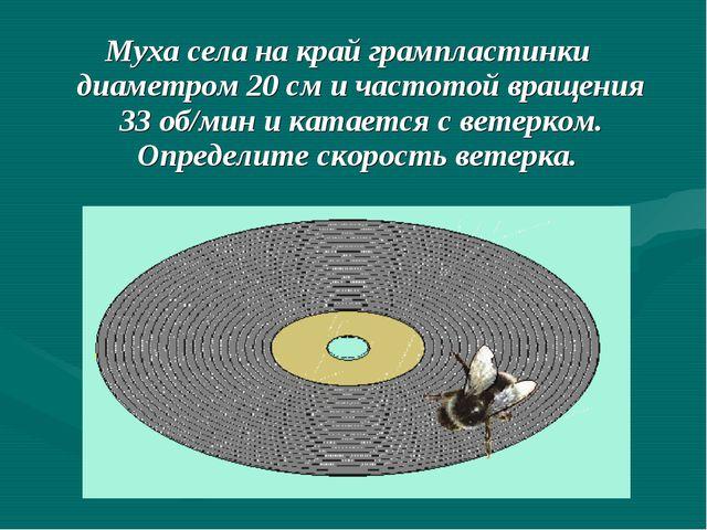 Муха села на край грампластинки диаметром 20 см и частотой вращения 33 об/мин...