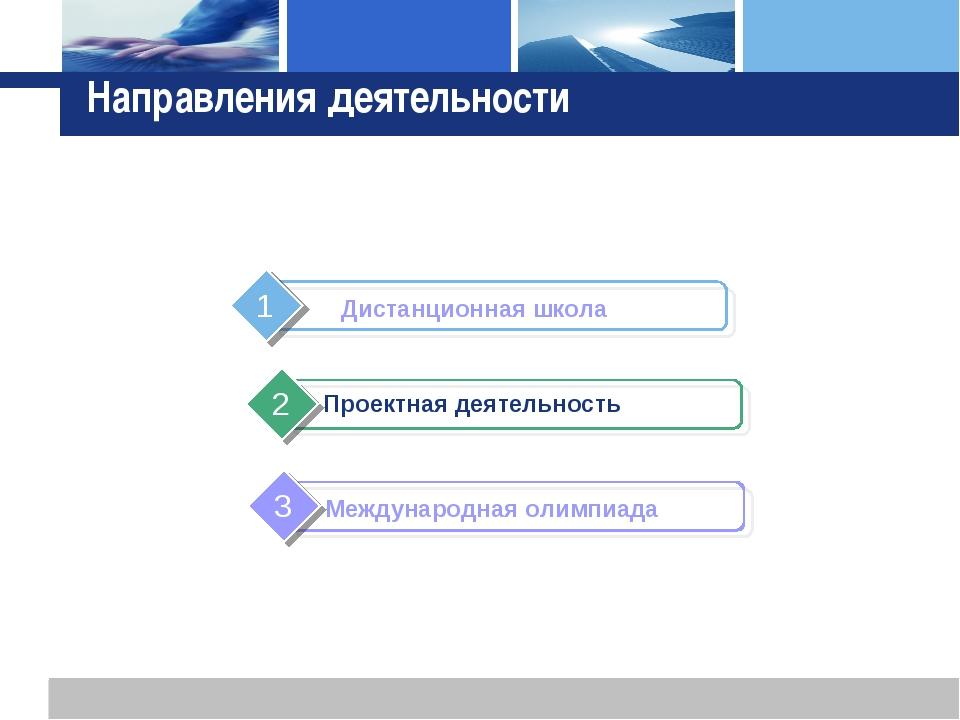 Направления деятельности Проектная деятельность L o g o