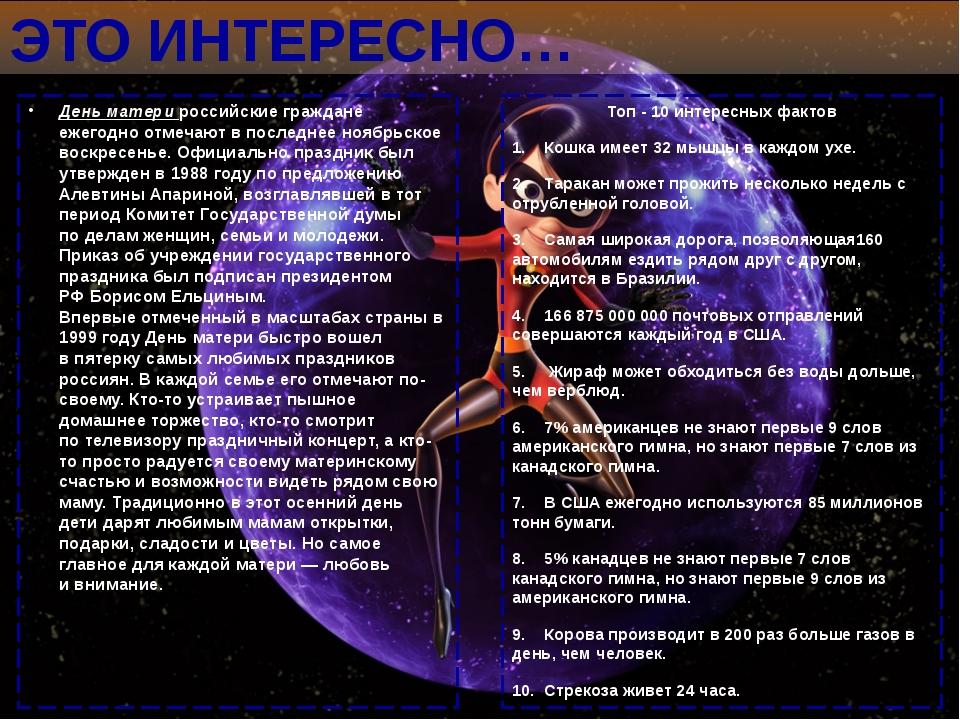 ЭТО ИНТЕРЕСНО… День матери российские граждане ежегодно отмечают впоследнее...