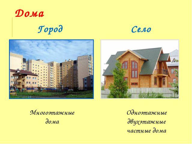 Дома Город Село Многоэтажные дома Одноэтажные двухэтажные частные дома
