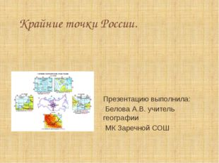Крайние точки России. Презентацию выполнила: Белова А.В. учитель географии МК