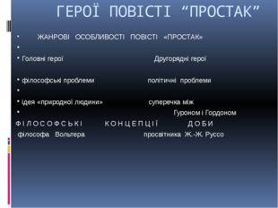 """ГЕРОЇ ПОВІСТІ """"ПРОСТАК"""" ЖАНРОВІ ОСОБЛИВОСТІ ПОВІСТІ «ПРОСТАК»  Головні геро"""