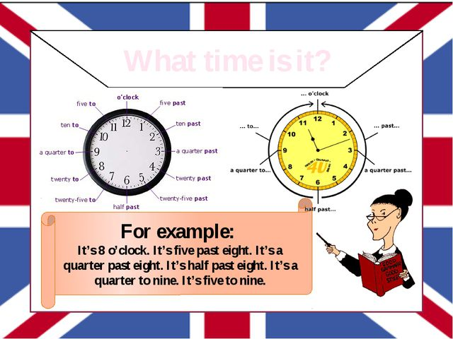 What time is it? For example: It's 8 o'clock. It's five past eight. It's a q...