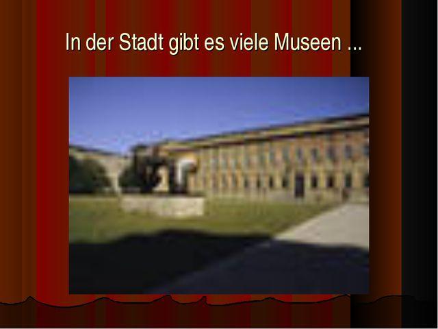 In der Stadt gibt es viele Museen ...