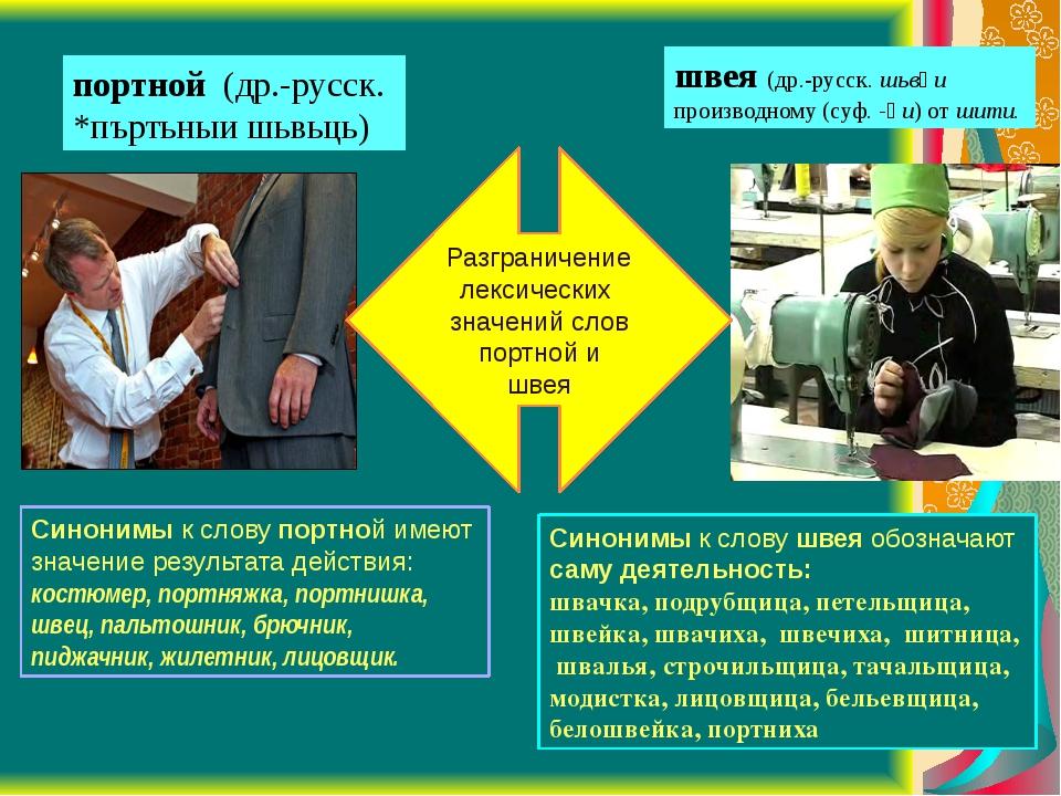 Разграничение лексических значений слов портной и швея швея (др.-русск. шьвѣи...