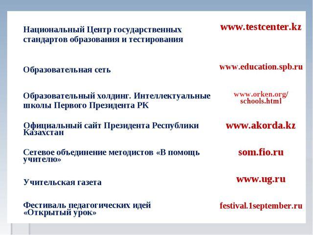 Национальный Центр государственных стандартов образования и тестирования www...
