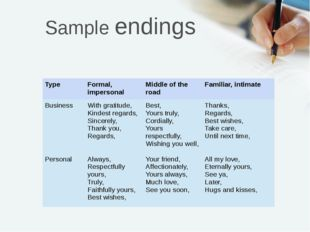 Sample endings Type Formal, impersonal Middle of the road Familiar, intimate
