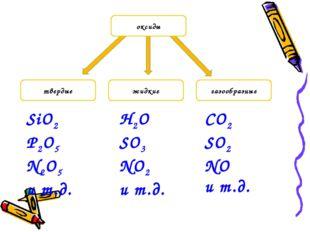 твердые газообразные жидкие оксиды SiO2 P2O5 N2O5 и т.д. CO2 SO2 NO и т.д. H2