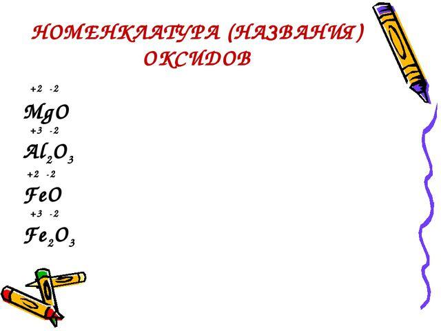 НОМЕНКЛАТУРА (НАЗВАНИЯ) ОКСИДОВ +2 -2 MgO +3 -2 Al2O3 +2 -2 FeO +3 -2 Fe2O3