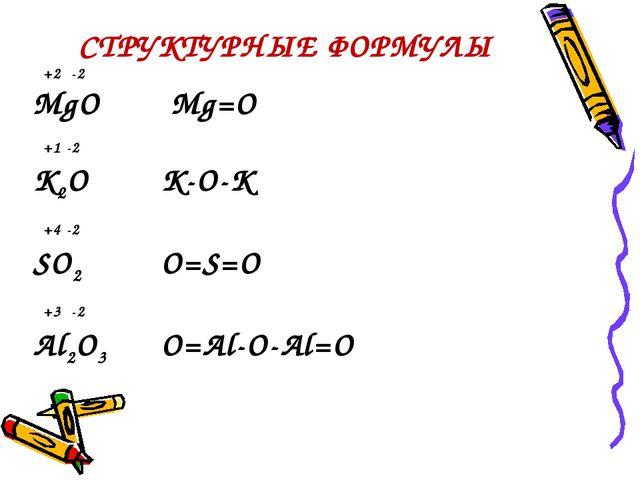 СТРУКТУРНЫЕ ФОРМУЛЫ +2 -2 MgO Mg=O +1 -2 K2OK-O-K +4 -2 SO2O=S=O +3 -2 A...