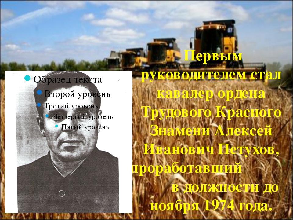 Первым руководителем стал кавалер ордена Трудового Красного Знамени Алексей...