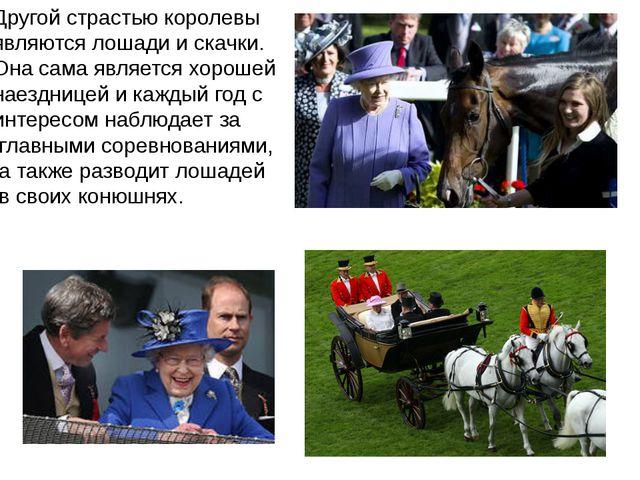 Другой страстью королевы являются лошади и скачки. Она сама является хорошей...