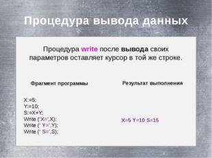 Процедура вывода данных Процедура write после вывода своих параметров оставл