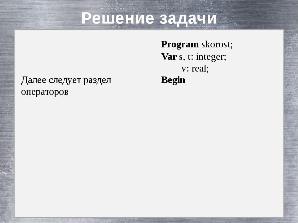 Решение задачи Далее следует раздел операторов Program skorost; Var s, t: in...