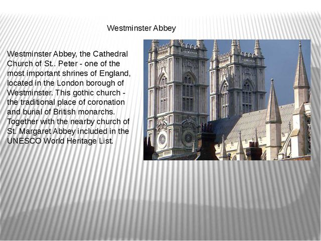 Westminster Abbey Westminster Abbey, the Cathedral Church of St.. Peter - on...