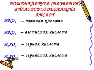 НОМЕНКЛАТУРА (НАЗВАНИЯ) КИСЛОРОДСОДЕРЖАЩИХ КИСЛОТ HNO3 HNO2 H2SO4  H2SO3 –