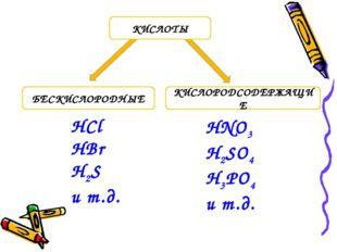 БЕСКИСЛОРОДНЫЕ КИСЛОРОДСОДЕРЖАЩИЕ КИСЛОТЫ HCl HBr H2S и т.д. HNO3 H2SO4 H3PO4