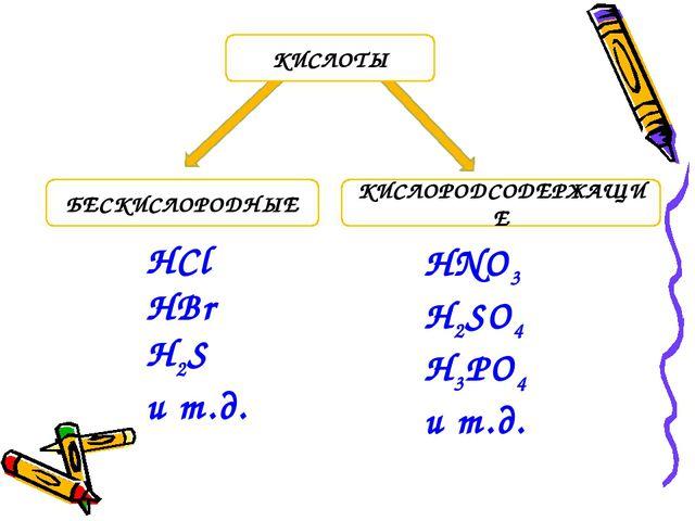 БЕСКИСЛОРОДНЫЕ КИСЛОРОДСОДЕРЖАЩИЕ КИСЛОТЫ HCl HBr H2S и т.д. HNO3 H2SO4 H3PO4...