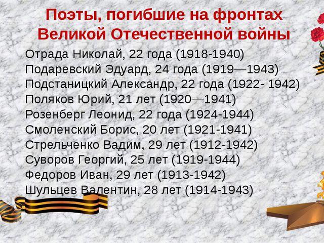 Поэты, погибшие на фронтах Великой Отечественной войны Отрада Николай, 22 год...